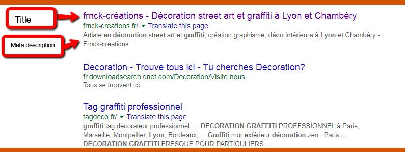 title meta description référencer site artiste