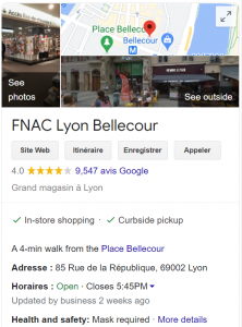 fiche Google My Businesss de la FNAC