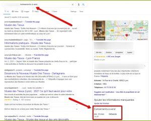 Requête local pack google événement